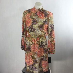 RALPH LAUREN Dress Beige Floral Sheer Georgette